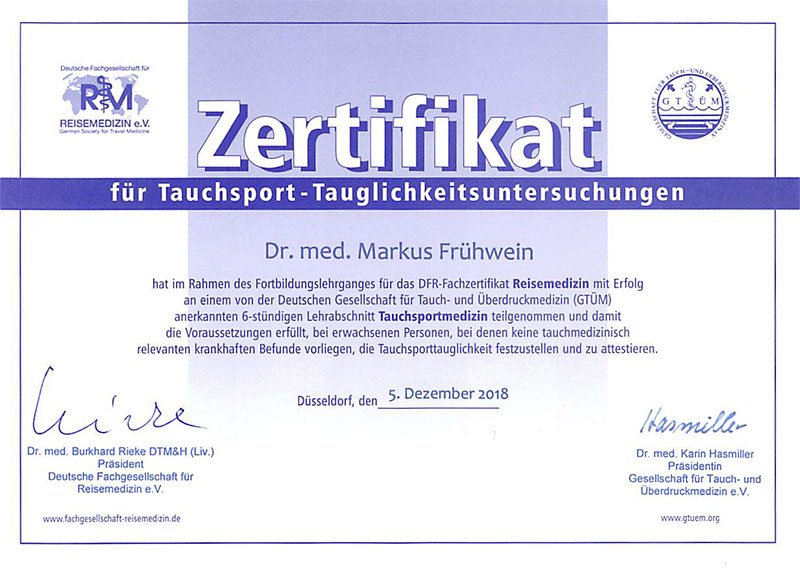 Zertifikat für Tauchsport-Tauchtauglichkeitsuntersuchungen