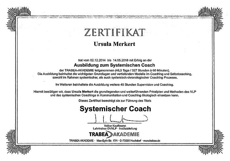 Zertifikat Ursula Merkert Ausbildung zum Systemischen Coach