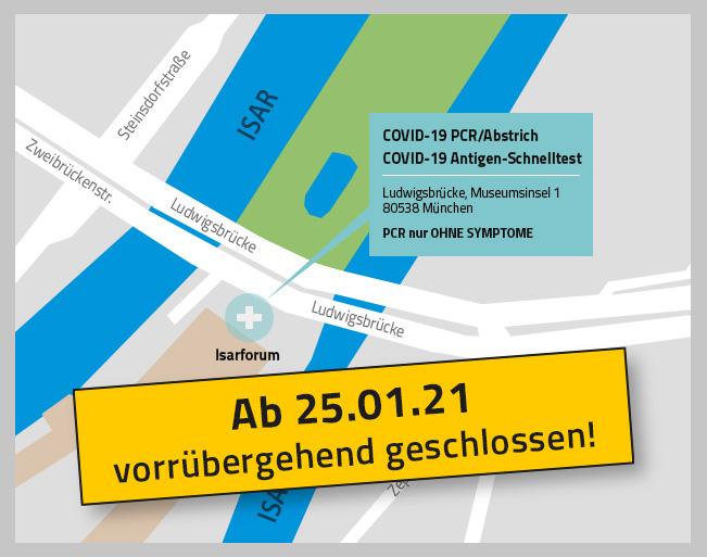 Karte von der Teststation welches ab den 25.01.21 vorübergehend geschlossen ist